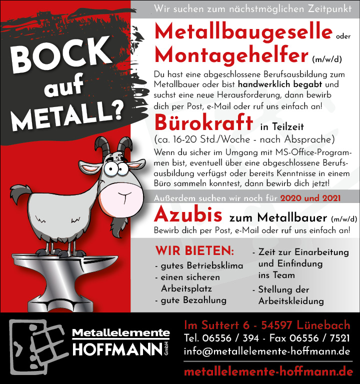 Metallelemente Hoffmann Stellenanzeige - Metallbaugeselle, Montagehilfe, Bürokraft oder Azubi